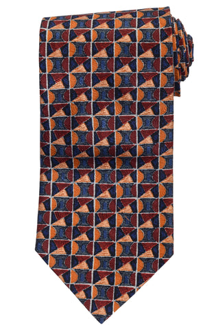 RUBINACCI Napoli Made In Italy Burgundy & Blue Silk Classic Tie NEW