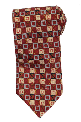RUBINACCI Napoli Made In Italy Burgundy Silk Classic Tie NEW