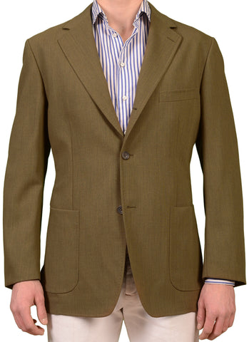 RUBINACCI Napoli Made In Italy Khaki Wool Blazer Jacket NEW