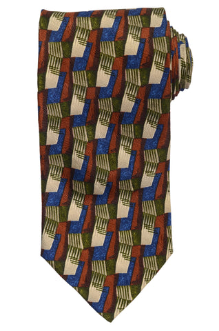 RUBINACCI Napoli Made In Italy Multi-Color Silk Classic Tie NEW
