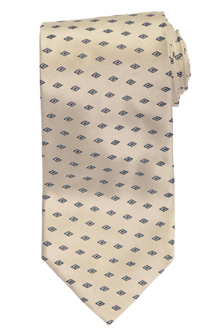 RUBINACCI Napoli Made In Italy Off-White Satin Silk Classic Tie NEW