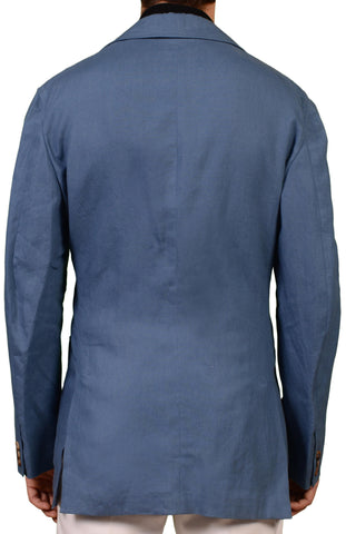 RUBINACCI Napoli Made In Italy Solid Blue Linen Jacket Car Coat EU 52 NEW US 42