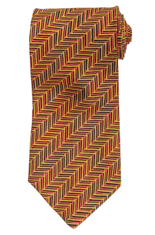 RUBINACCI Napoli Made In Italy Yellow Silk Classic Tie NEW