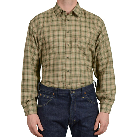 RUBINACCI Napoli Olive Plaid Twill Cotton Casual Shirt EU 40 NEW US 15.75