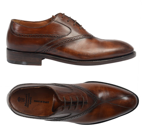 "RUBINACCI Napoli ""Oxford"" Brown Leather 4 Eyelet Dress Shoes NEW with Box"