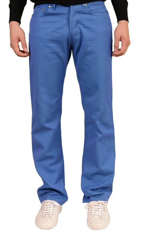 RUBINACCI Napoli Solid Blue Cotton Jeans Pants Straight Classic Fit NEW - SARTORIALE - 1