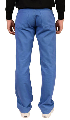 RUBINACCI Napoli Solid Blue Cotton Jeans Pants Straight Classic Fit NEW - SARTORIALE - 2