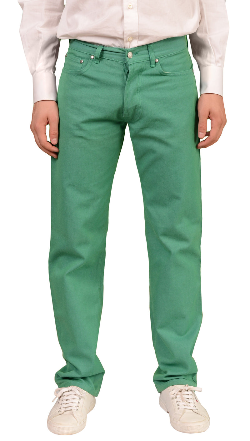 RUBINACCI Napoli Solid Green Cotton Jeans Pants NEW Straight Classic Fit - SARTORIALE - 1
