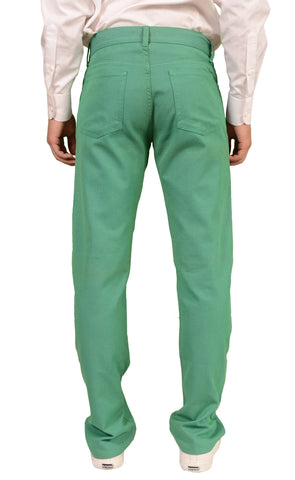 RUBINACCI Napoli Solid Green Cotton Jeans Pants NEW Straight Classic Fit - SARTORIALE - 2