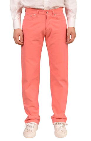 RUBINACCI Napoli Solid Pink Cotton Jeans Pants NEW Straight Classic Fit - SARTORIALE - 1