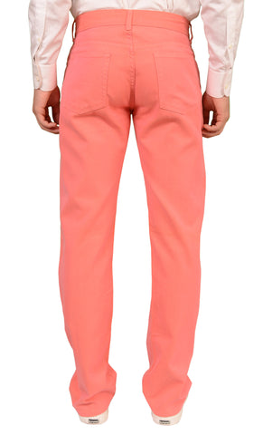 RUBINACCI Napoli Solid Pink Cotton Jeans Pants NEW Straight Classic Fit - SARTORIALE - 2