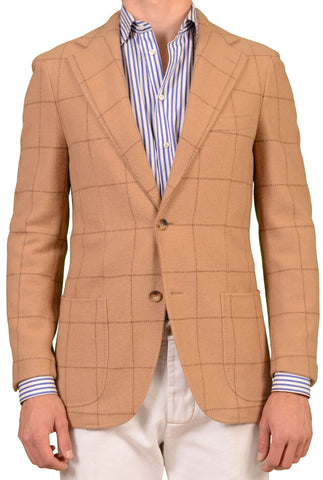 RUBINACCI Napoli Tan Windowpane Cashmere Blazer Soft Jacket NEW Slim - SARTORIALE - 1