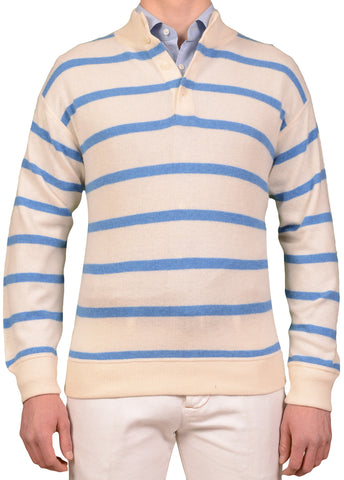 RUBINACCI Napoli White Striped Cashmere Ribbed High Neck Sweater NEW
