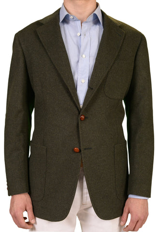 RUBINACCI LH Solid Green Wool-Alpaca Flannel Tweed Jacket EU 54 NEW US 44