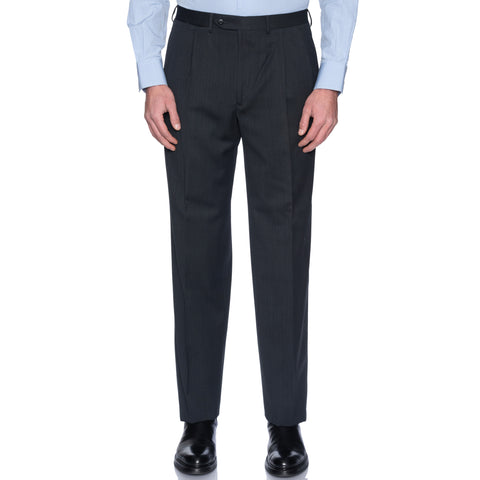 SAINT ANDREWS Gray Wool-Cotton Double Pleated Dress Pants 50 NEW US 34 Classic Fit