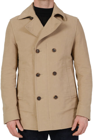 SALVATORE FERRAGAMO Beige Cotton DB Pea Coat Jacket Moleskin EU 50 NEW US M