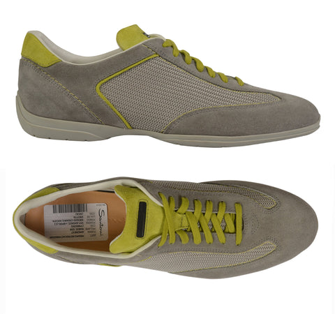 SANTONI For AMG Gray Suede Leather Canvas Low-Top Sneaker Shoes IT 8 US 9 NEW