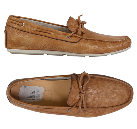 SANTONI Wellington Tan Scotchgrain Leather Moccasin Loafer Shoes IT 8 NEW US 9