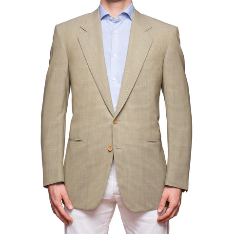SARTORIA CASTANGIA Beige Check Wool Jacket Sport Coat EU 52 NEW US 42