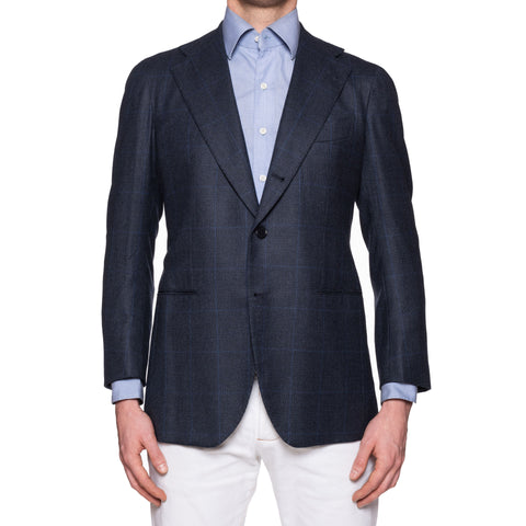 SARTORIA CHIAIA Bespoke Blue Prince of Wales Wool Cashmere Jacket 50 NEW 40