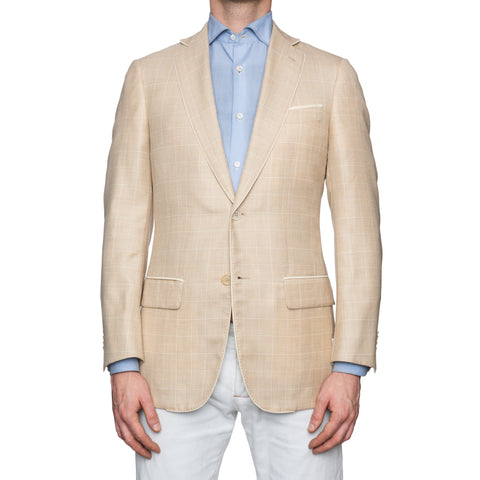 SARTORIA CASTANGIA Beige Glen Plaid Silk-Cashmere Silk Lined Jacket 48 NEW 38
