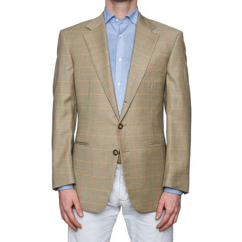 SARTORIA CASTANGIA Beige Gun Club Plaid Cotton Sport Coat Jacket 52 NEW US 42