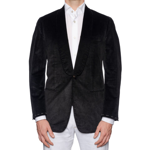 SARTORIA CASTANGIA Black Cotton Velvet Shawl Collar Jacket Silk Lining 50 NEW 40