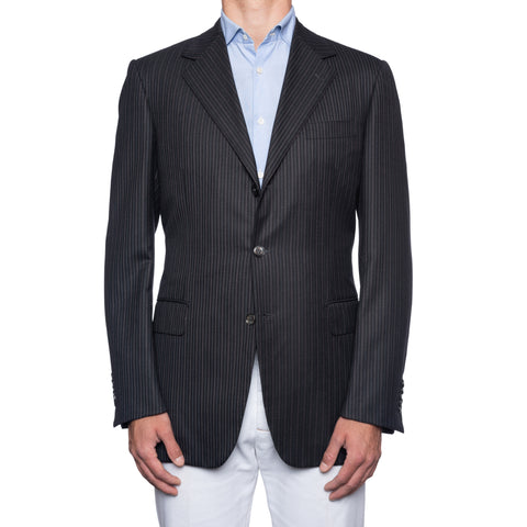 SARTORIA CASTANGIA Black Herringbone Striped Wool Super 130's Jacket 53 NEW 43