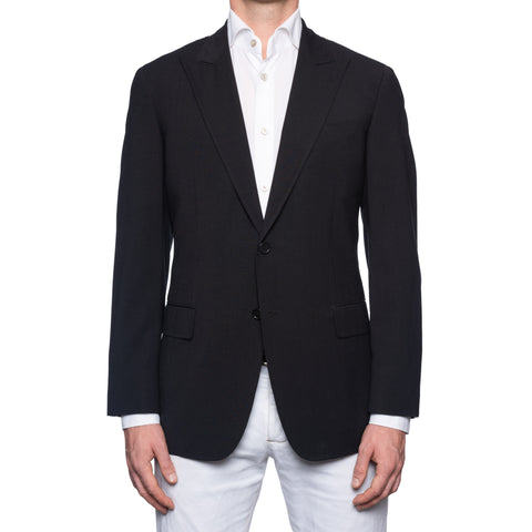 SARTORIA CASTANGIA Black Wool-Cotton Peak Lapel Jacket EU 52 NEW US 42