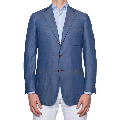 SARTORIA CASTANGIA Blue Cotton Sport Coat Jacket EU 48 NEW US 38