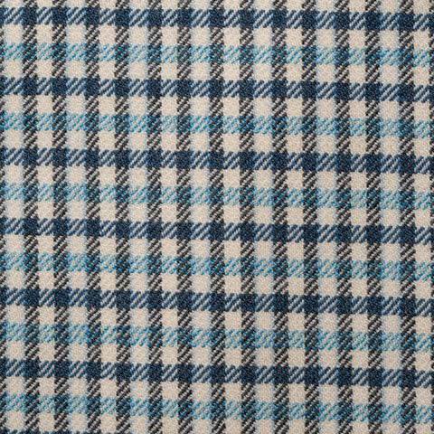 SARTORIA CASTANGIA Blue Gingham Plaid Merino Wool Super 140's Jacket 52 NEW 42