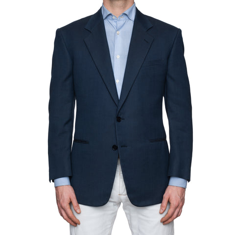 SARTORIA CASTANGIA Blue Herringbone Cotton Jacket EU 50 NEW US 40