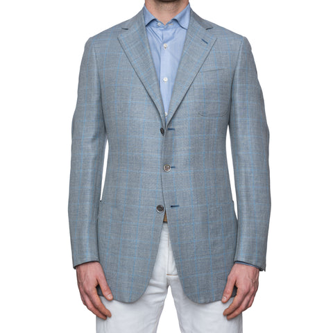 SARTORIA CASTANGIA Blue Linen-Merino Wool Super 120's Jacket 52 NEW 42