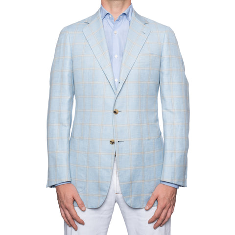 SARTORIA CASTANGIA Blue Plaid Cashmere-Linen Sport Coat Jacket EU 50 NEW US 40
