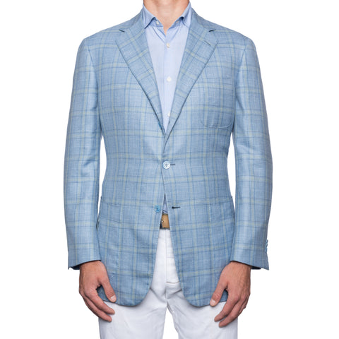 SARTORIA CASTANGIA Sky Blue Merino Wool-Silk-Linen Jacket EU 54 NEW US 44
