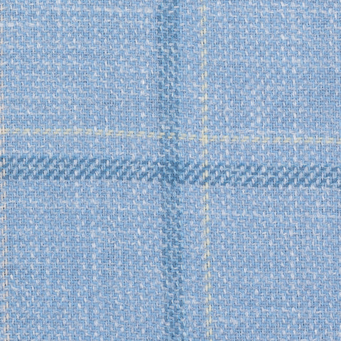 SARTORIA CASTANGIA Sky Blue Plaid Wool-Silk-Linen Jacket EU 50 NEW US 40