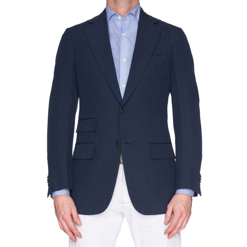 SARTORIA CASTANGIA Blue Pure Silk Jacket Blazer EU 48 NEW US 38