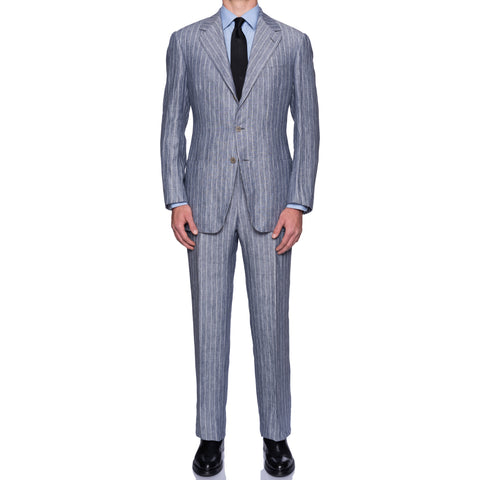 SARTORIA CASTANGIA Handmade Blue Striped Linen Summer-Spring Suit 54 NEW 44