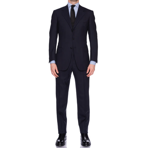 SARTORIA CASTANGIA Navy Blue Striped Mohair-Wool Super 100's Suit NEW