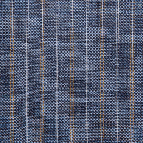 SARTORIA CASTANGIA HandMade Steel Blue Striped Wool-Linen Suit NEW