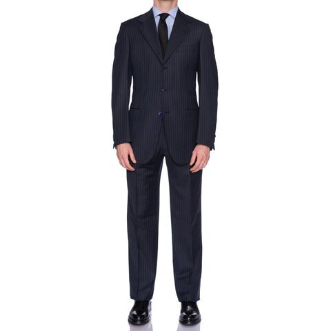 SARTORIA CASTANGIA Blue Striped Wool Super 130's Suit EU 50 NEW US 40