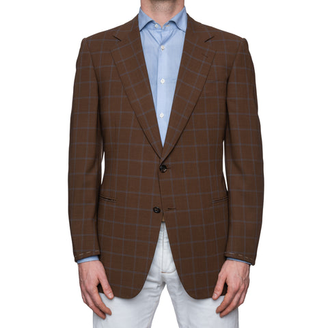 SARTORIA CASTANGIA Brown Check Merino Wool Super 140's Jacket EU 52 NEW US 42