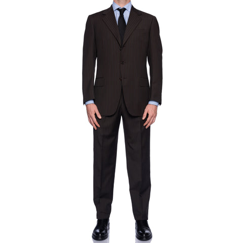 SARTORIA CASTANGIA Handmade Brown Striped Wool Super 120's Suit NEW
