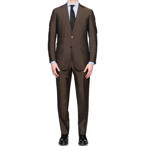SARTORIA CASTANGIA Brown Wool-Mohair Summer-Spring Suit EU 50 NEW US 40