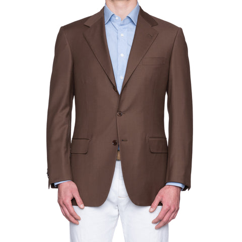 SARTORIA CASTANGIA Brown Wool Super 130's Jacket EU 52 NEW US 42