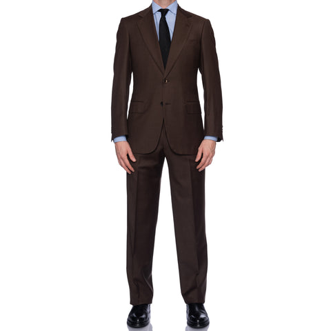 SARTORIA CASTANGIA Solid Chocolate Brown Super 150's Suit EU 48 NEW US 38