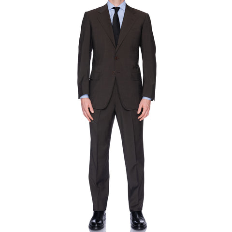 CASTANGIA 1850 Solid Dark Brown Wool Business Suit EU 50 NEW US 40