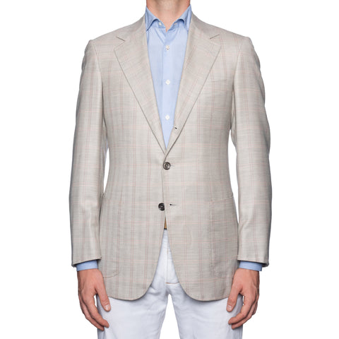 SARTORIA CASTANGIA Gray Herringbone Plaid Cashmere-Silk Jacket 48 NEW US 38