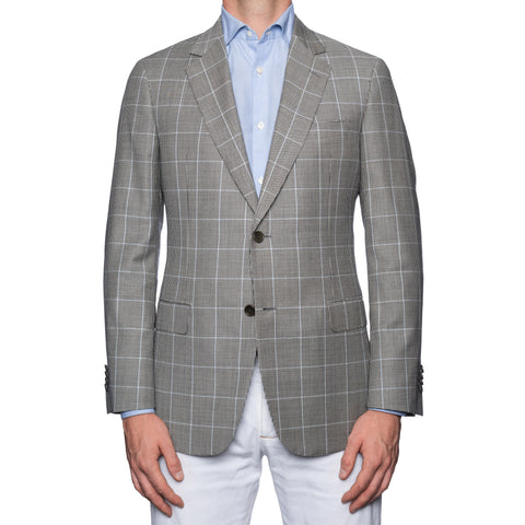 SARTORIA CASTANGIA Gray Houndstooth Plaid Wool Jacket EU 50 NEW US 40