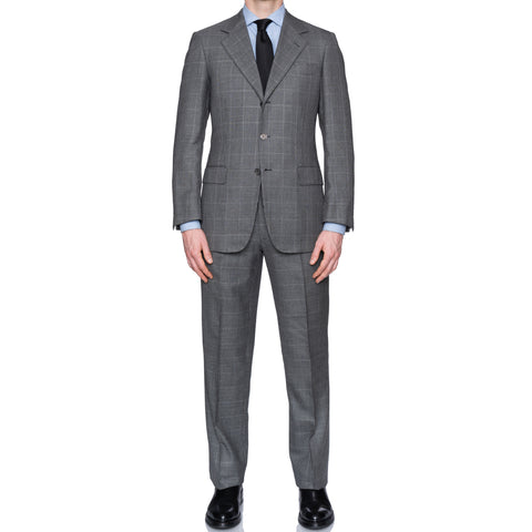 SARTORIA CASTANGIA Gray Houndstooth Wool-Cashmere-Silk Suit EU 48 NEW US 38